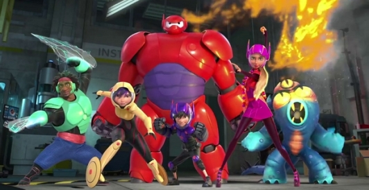 Anggota Big Hero 6: Wasabi - Gogo Tomago - Hiro & Baymax - Honey Lemon - Fred